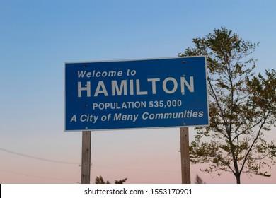 Hamilton, Ontario Canada - October 2019: Hamilton sign. Welcome to Hamilton Ontario