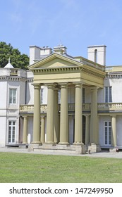 HAMILTON, ONTARIO - JULY 2013: The exterior of Dundurn Castle, Hamilton, 20 July, 2013. The castle built in 1835 is a National Historic Site of Canada from 2013 and a premier visitor attraction.
