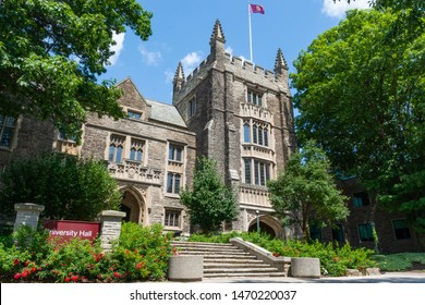Hamilton, Ontario/Canada - August 02, 2019: Photograph of University Hall located at McMaster University. McMaster University is located in Hamilton, Ontario.