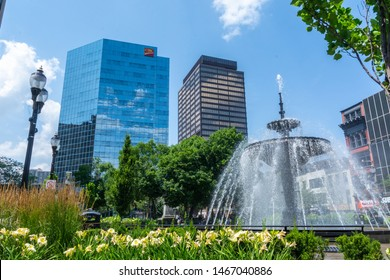 Hamilton, Ontario/Canada - July 28, 2019: Photograph of a fountain found in Gore Park. Gore Park is located in downtown Hamilton (Ontario) right across from Jackson Square mall.