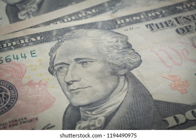 Hamilton portrait, ten dollars bill, bisiness abstract