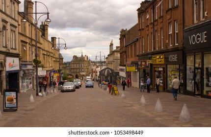 Hamilton, Scotland - 26 June 2017: Hamilton High Street Promenade, Shops, View from Hill.