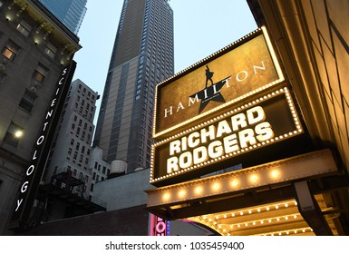 Hamilton sign at the Richard Rogers Theater in Times Square, New York City, February 25, 2018