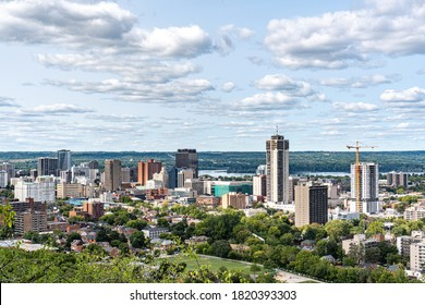 Hamilton skyline view in a beautiful cloudy day