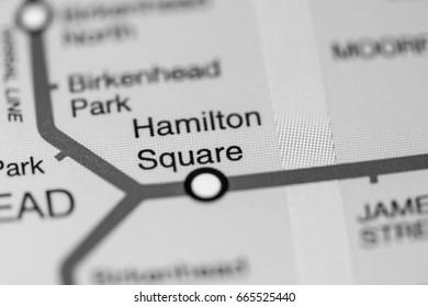 Hamilton Square Station. Liverpool Metro map.