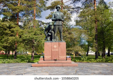 HAMINA, FINLAND - JUNE 03, 2017: Monument to Finnish soldiers and officers who died during the Second World War