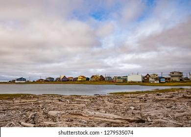 Hamlet of Tuktoyaktuk, a Inuvialuit community at the shore of Beaufort Sea or Arctic Ocean in Northwest Territories, NWT, Canada