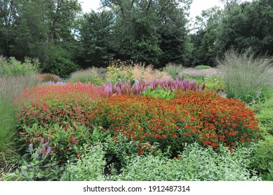 HAMM, GERMANY - 15 AUGUST 2015: Planting in perennial meadow style designed by Piet Oudolf in the Garden Art garden in the public park Maximilianpark