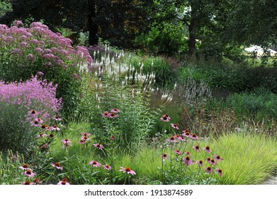 HAMM, GERMANY - 15 AUGUST 2015: Planting in perennial meadow style in the Nature Designs garden in the public park
