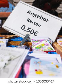 Hamm, Germany - March 29, 2019: A sign indicating that a birthday card costs 0,50 Euros.