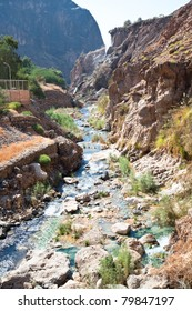 Hammamat Ma'in canyon with  natural hot springs.There are about 60 thermal springs. Jordan