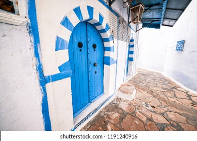 Hammamet Medina streets with blue decor and elements. Tunis, north Africa.
