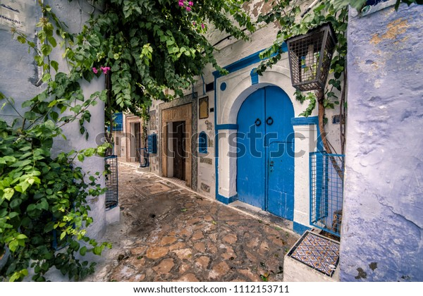 Hammamet Medina streets with blue walls. Tunis, north Africa.