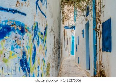 HAMMAMET, TN - MARCH 21, 2017: Streets of Hammamet, the first tourist destination in Tunisia. Located on the Gulf of Hammamet.