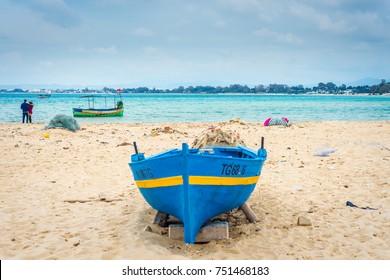 HAMMAMET, TN - MARCH 21, 2017: Beach of Hammamet, the first tourist destination in Tunisia. Located on the Gulf of Hammamet.
