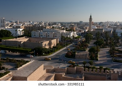 HAMMAMET, TUNISIA - JULY 16, 2012: The modern promenade with the view on high walls of Medina, on July 16 in Hammamet.