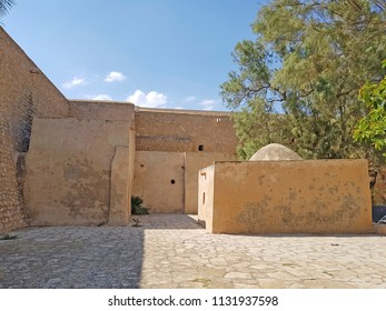 HAMMAMET, TUNISIA - JUNE 23, 2018: The internal buildings in the Kasbah (Fortress) which is a medieval landmark located in Hammamet, Tunisia, North Africa