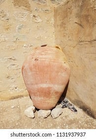 HAMMAMET, TUNISIA - JUNE 23, 2018: A large urn in the Kasbah (Fortress) which is a medieval landmark located in Hammamet, Tunisia, North Africa