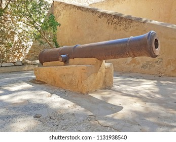 HAMMAMET, TUNISIA - JUNE 23, 2018: An old gun in the Kasbah (Fortress) which is a medieval landmark located in Hammamet, Tunisia, North Africa