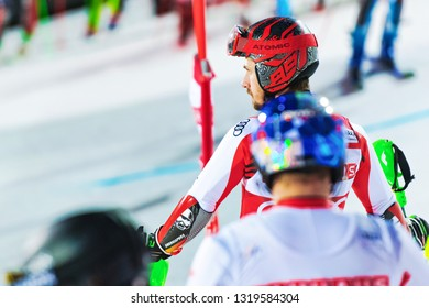 HAMMARBYBACKEN- SWEDEN - FEB 19,  2019:  Marcel Hirscher (SUI) checking the coarse at the Worldcup paralell skiing city event in Stockholm. Winners Shiffrin & Zenhäusern