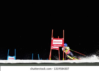 HAMMARBYBACKEN- SWEDEN - FEB 19, 2019: Mikaela Shiffrin (USA) in the first run at the Worldcup paralell skiing city event in Stockholm. Winners Shiffrin & Zenhäusern