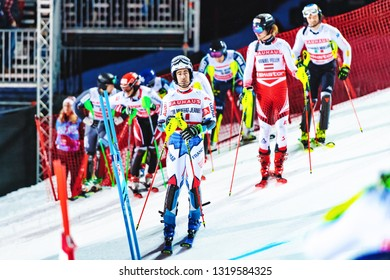 HAMMARBYBACKEN- SWEDEN - FEB 19,  2019: Presentation of the male skiiers at the Worldcup paralell skiing city event in Stockholm. Winners Shiffrin & Zenhäusern