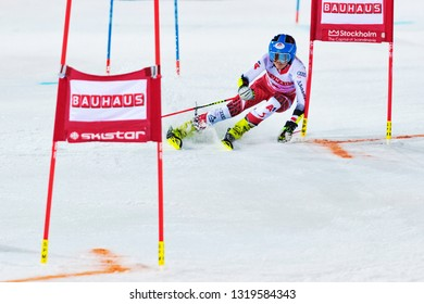 HAMMARBYBACKEN- SWEDEN - FEB 19, 2019: Katharina Truppe (AUT) in her first run at the Worldcup paralell skiing city event in Stockholm. Winners Shiffrin & Zenhäusern