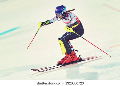 HAMMARBYBACKEN- SWEDEN - FEB 19, 2019: Winner Mikaela Shiffrin (USA) at the worldcup paralell skiing city event in Stockholm. Winners Shiffrin & Zenhäusern