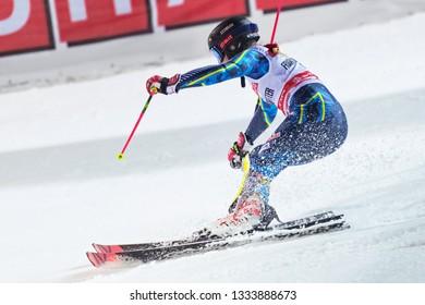 HAMMARBYBACKEN- SWEDEN - FEB 19, 2019: Frida Hansdotter (SWE) at the worldcup paralell skiing city event in Stockholm. Hansdotters last season 2019.