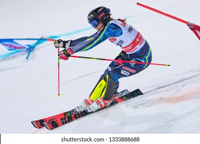 HAMMARBYBACKEN- SWEDEN - FEB 19, 2019: Frida Hansdotter (SWE) at the worldcup paralell skiing city event in Stockholm. Hansdotters last season 2019.