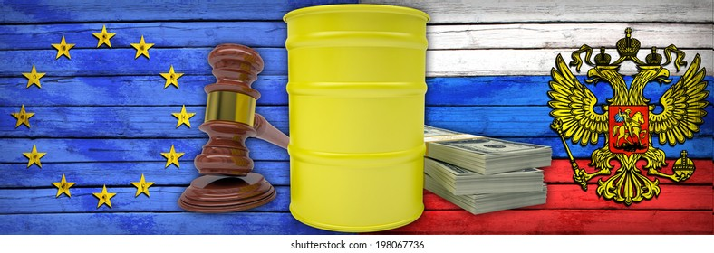 Hammer auction, barrel gas stack of currency dollars. The European Union and Russian flags as background