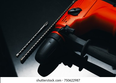 Hammer drill . Close-up. The electric tool.