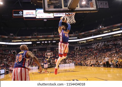 Hammer forward for the Harlem Globetrotters at Talking Stick Resort Arena in Phoenix Arizona USA August 11,2018.