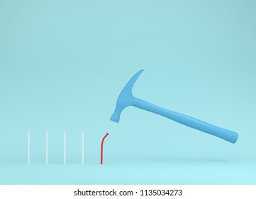 Hammer is hitting red nails on blue pastel background. from beginner to skilled expert. training skill. smashing of successful training and persistence. minimal skill level concept.