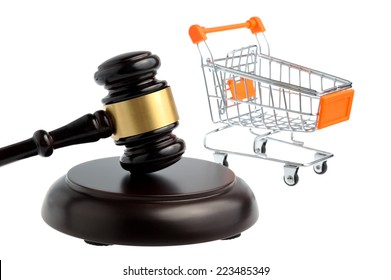 Hammer of judge with pushcart isolated