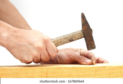 Hammer and Nail Using hammer and nail on wood.