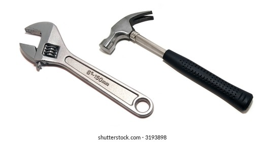 Hammer and screwdriver isolated on white background