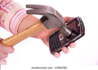 hammer smashing a cell phone