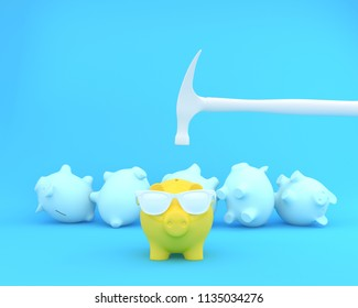 Hammer which is raised above a piggy banks yellow with glasses and piggy other on blue pastel background. minimal business finance concept.