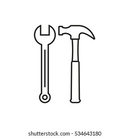 Hammer and wrench outline icon. Toolkit symbol.