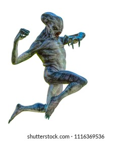 hammerhead alien exploring around 3d illustration