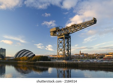 Hammerhead crane at sunset on the bank of the River Clyde
