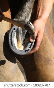 hammering the horseshoe close up