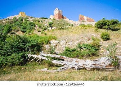 Hammershus castle - the biggest Northern Europe castle ruins situated at steep granite cliff on the Baltic Sea coast, Bornholm, Denmark