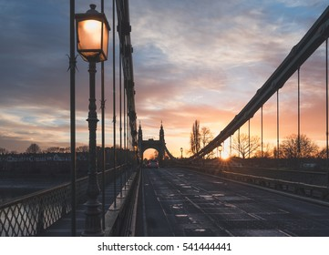 Hammersmith bridge in London during the sunset