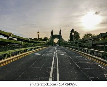 Hammersmith Bridge, London / England - 10/07/2018 - 132 year old Hammersmith Bridge before it was closed to cars/vehicles in April 2019 (view of South towers from the centre of the bridge)