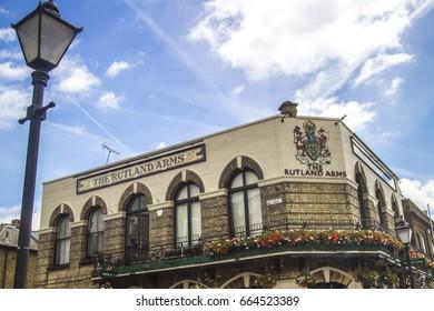 HAMMERSMITH, LONDON- JUNE 2017: Rutland Riverside pub along the popular Thames path which runs through London.