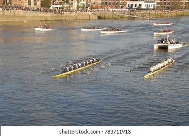 Hammersmith, United Kingdom - April 11, 2015: The boat race - Oxford versus Cambridge