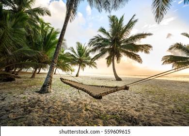 Hammock between palms on sandy beach