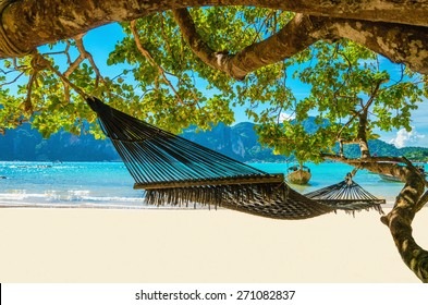 Hammock hanging between exotic trees at the sandy beach and sea coast